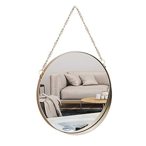 AIFUSI 25x25cm Runden Spiegel Wandspiegel, handgefertigter Badspiegel Facettenspiegel Vintage Dekoration, Messingende mit hängender Kette, mittlere Größe