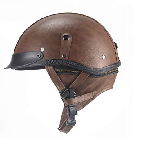 Yvonnelee Mopedhelm Motocross Helm heren, motorhelm set dames fullface motorfiets mountainbike helm met vizier bril handschoenen masker X-Large bruin