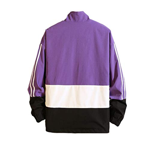 MAYOGO Herren Softshell Jacke Japanischer Stil Harajuku Jacke Freizeit Patchwork Regenjacke Zip Jacke, Winddicht, wasserdichte (Lila, XL)