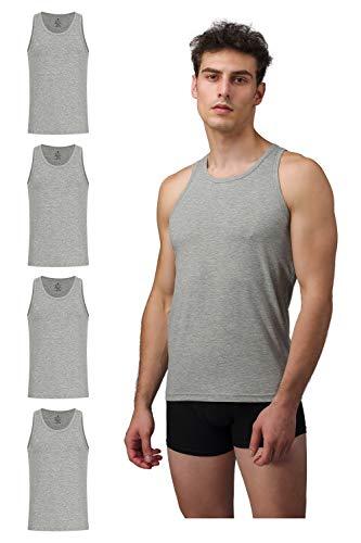 Burnell & Son Business Unterhemd Tank Top für Herren aus atmungsaktiver Baumwolle, Slim Fit 4er Pack, Grau, XL