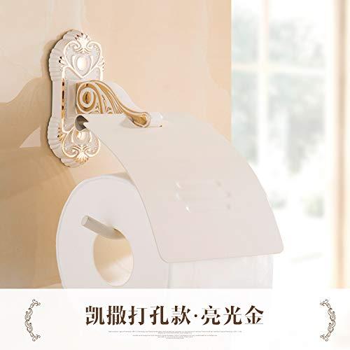 Joeesun Le porte-serviette en papier de toilette laqué blanc cuit au four porte-rouleau peut être perforé Boîte de papier hygiénique blanc européen César poinçonnage