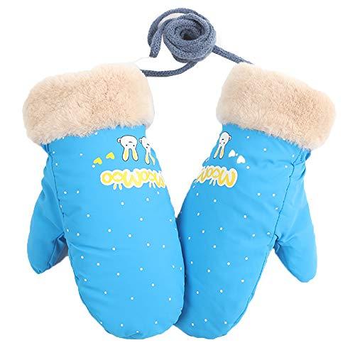 Axdwfd Enfant Ski Gants, Hiver De Plein Air Épais Chaud Imperméable Dessin Animé Fille Mâle Cou Suspendu Mitaines, 18,2 * 8,5 Cm, 4 Couleurs (Color : Blue)