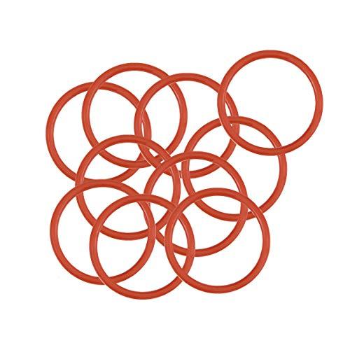 Sourcingmap, O-ring in silicone, diametro 12 mm, diametro 10 mm, larghezza 1 mm, guarnizione per anelli di tenuta, rosso, confezione da 10