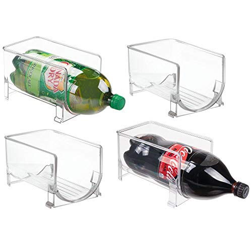 mDesign Large Stackable Kitchen Bin Storage Organizer Rack for Pop/Soda Bottles for Refrigerator, Pantry, Countertops and Cabinets - Holds 2-Liter Bottles - 4 Pack - Clear