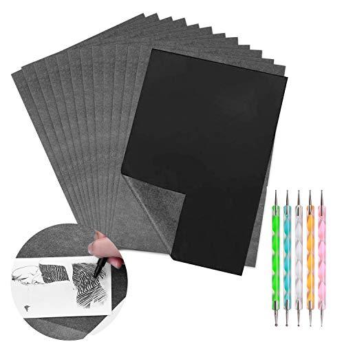 100 Blatt A4 Kohlepapier und Pauspapier mit 5 Stück Prägestift, Schwarzem Transferpapier Pauspapier für das Aufspüren von Holz, Stoff Tattoo Stencil Copy Accessory