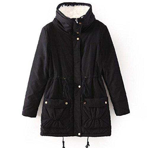 ACE SHOCK Winter Coats for Women Plus Size, Faux Fur Lined Parka Jackets Long Warm 12 Colors (Plus US 2X, Black)