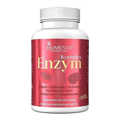 BIOMENTA Multi Enzym Komplex - mit Papaya (Papain), Ananas (Bromelain), Kiwi (Actinidin), Apfelessig, Rutin, Kardamom, Kreuzkümmel – vegan - 120 Enzym Kapseln – 2 Monatskur