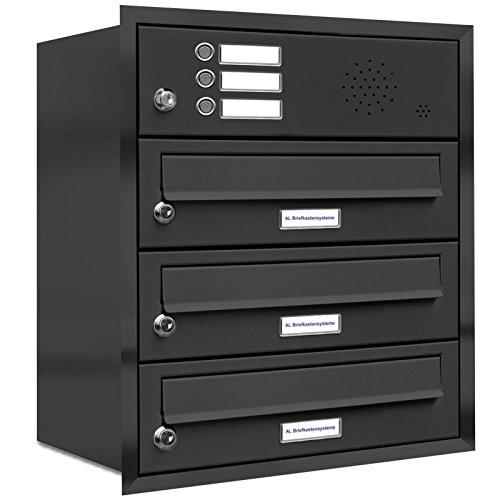 AL Briefkastensysteme, 3er Unterputzbriefkasten Anthrazit Grau, 3 Fach Briefkasten mit Klingel, Briefkastenanlage modern, RAL 7016 Postkasten