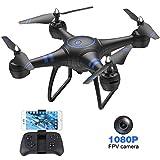 AKASO Drone avec Caméra HD 1080P LED,Quadcopter FPV WiFi RC avec Vidéo en Direct,3D VR,Mode sans Tête,360° Flips,Maintien de...