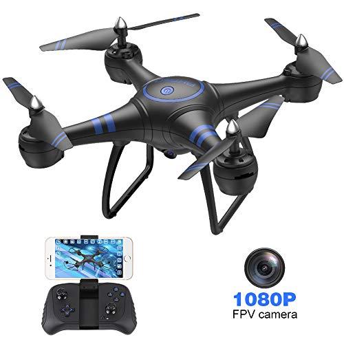 AKASO Drohne mit Kamera HD 1080P LED Licht, A31 Mini Drohne, WiFi FPV Live Übertragung RC Quadrocopter 3D VR 360°Drehung Kopfloser Modus APP Steuerung für Anfänger/ Kinder/ Erwachsener, Schwarz