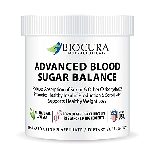 Biocura Advanced Blood Sugar Balance Natural Diabetic Formula Support to Lower & Optimizer Glucose for Type 2 Diabetes Clinically Proven Ingredients Nutritional Food Supplement Vegan Gluten-Free
