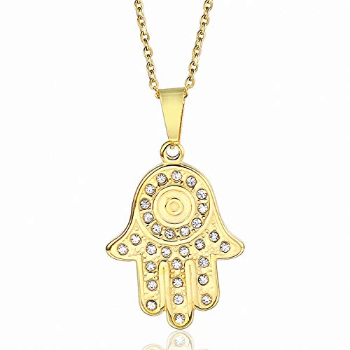 ZYLL Colgante de Diamante con Incrustaciones de Palma de Fátima Collar de Acero Inoxidable Universal para Hombres y Mujeres Joyería Inconformista Acero de Titanio Oro de 18 Quilates