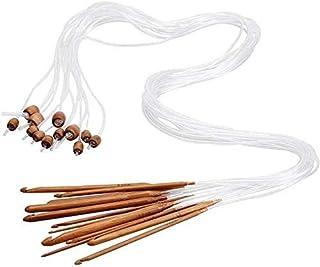 Lot de 12 crochets tunisiens afghans avec câble en plastique carbonisé et aiguilles à tricoter en bambou pour tapis et tapis