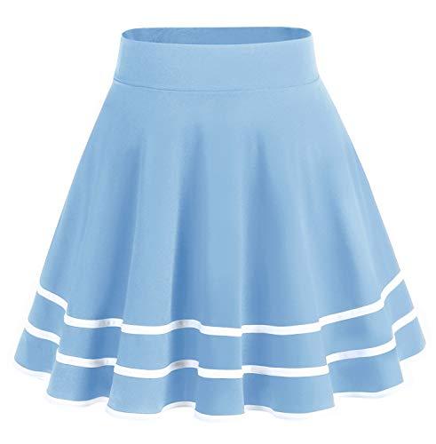 bridesmay Damenrock Basic Solid Vielseitige Dehnbaren Informell Minikleid Retro Mini Rock Faltenrock Light Blue-White L