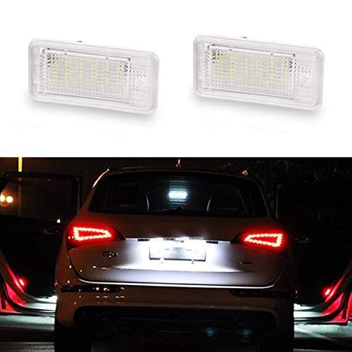 GOFORJUMP 2Pcs 12V Blanc 18 LED Lampe de Plaque d'immatriculation pour A/UDI A3 S3 8P / 8PA A4 S6 B6 / B7 RS4 A6 A6 S6 C6 A8 S8 D3 Q7 4L