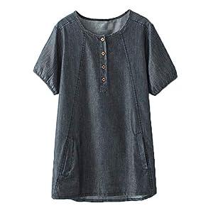 Women's Denim Blouse Loose Tunics Plus Size Tops Shirt with Pocket