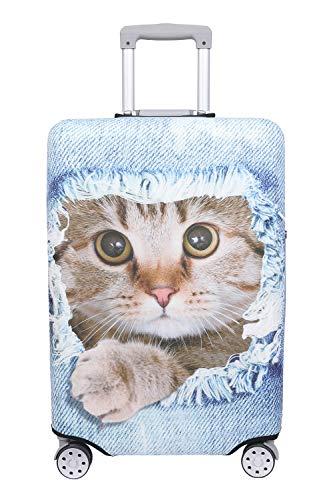 【こもれび屋】スーツケース 保護 カバー かわいい イヌ ネコ デニム トランクケース キャリーケース 伸縮 旅行 OD13 (猫・ 茶トラ(ライトブルー), XL)