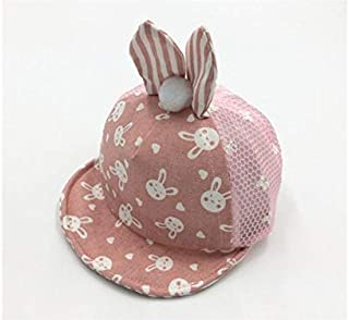 Baby Decoration Hat Newborn Rabbit Ear Style Baseball Cap Infant Breathable Mesh Hat Outdoor Sun Visor for 6-12 Months Cute Cap (Color : Pink, Size : 44-50cm)