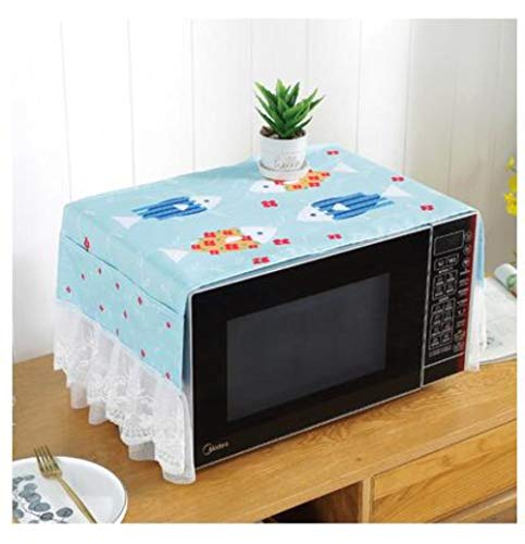 Miner Fabric Lace Micro-Ondes Cover with Pouch Case Anti Oil Dustproof Micro-Ondes Four Storage Bag Home Supply Kitchen Accessories, J, 35CM X 105CM