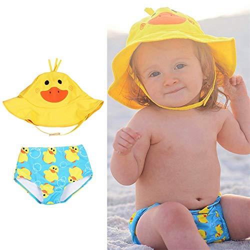 Lindo bebé / niños pequeños muchachos ropa reutilizable sol sombrero de sol y natación juego conjunto de traje de baño de 2 piezas - con UPF 50+ protección solar 0-24m ( Color : Y , Size : 70 (0 6M) )