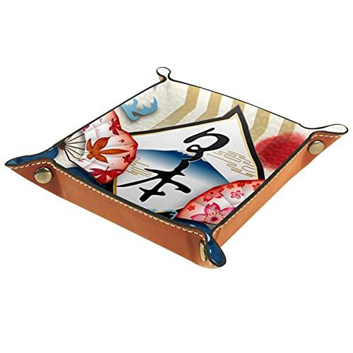 Japón Fujiyama - Bandeja para dados de cuero, bandeja de noche, bandeja de almacenamiento, organizador de joyas para hombres