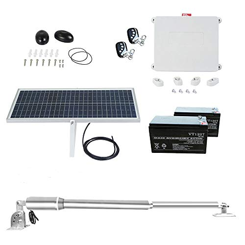 Solar Powered Heavy-Duty(660lb) Single Swing Automatic Gate Opener Kit Suitable for Opening Gates Up to 16 feet Wide and 160 feet Remote Control DC24V (Come with 20W Solar Panel and 2 PCS 7A Battery)