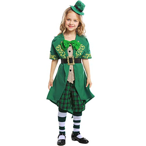 MSQL Grünes Wollweihnachtskostüm/Irish Elf Cosplay-Anzug, Kurze Ärmel, mit Krawatte und Gürtel, für den St. Patrick's Day,Child,L
