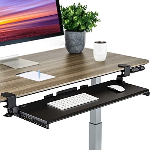 "Seville Classics Airlift Ergonomic Desk Keyboard and Mouse Tray Computer Table Slide-Out Platform Drawer for Typing Workstation, 31.5"", Black"