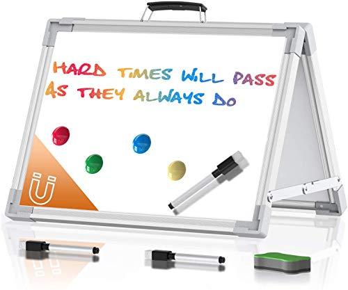 Mini Tragbares Doppelseitiges Whiteboard - Kleine Weiße Tafel zum Löschen, Faltbare Weiße Desktop-Tafel für Schule, Zuhause, Büro, 30 x 40 cm