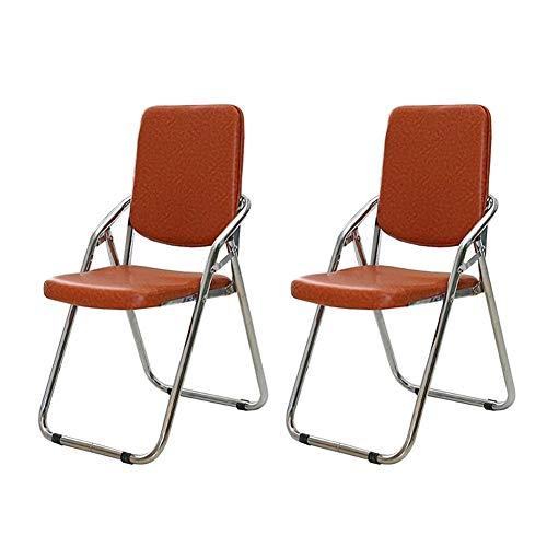 ZHDWM Stuhl 2 Stücke Klapp Bürostuhl Freischwinger Weiche Pu Verdickung Stuhl Eisenrohr Treffen Computer Stuhl 45x45x86,5 cm Klappstuhl (Color : 1)