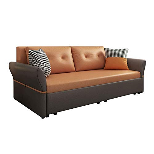 MEETGG Luxury Sofa Bed, Sleeper Pull Out Futon Couch,Multifunctional Solid Wood Folding Sofa Furniture with Storage,Ergonomic Design Seat Cushion,1.8M