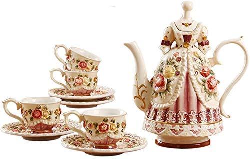 Nuevo juego de platillo, juego de té chino Teteras Juego de té de la tarde Tetera con infusor de té Juego de té de cerámica con rosas en relieve pintadas a mano Tetera victoriana europea con taza Jueg