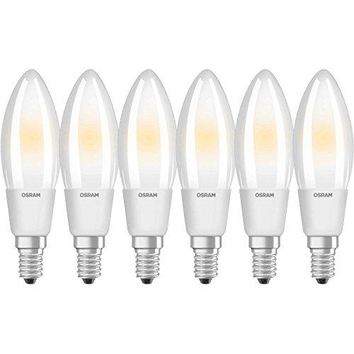 Osram Ampoule LED Filament, Forme flamme, Culot E14, Dimmable, 5W Equivalent 40W, 220-240V, dépolie, Blanc Chaud 2700K, Lot de 6 pièces