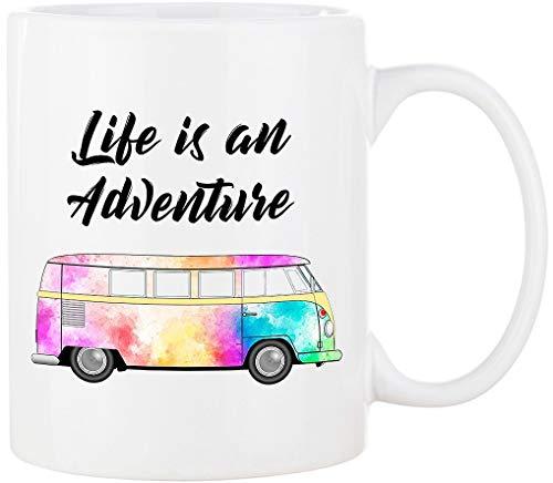 Cadouri CAMPING-Tasse mit Spruch LIFE IS AN ADVENTURE Kaffeetasse Kaffeebecher Trinkbecher Campingbecher - 300 ml