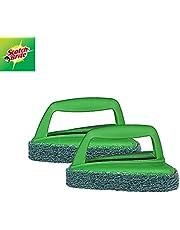 Scotch-Brite Fibre Bathroom Scrubber Brush (Green, Pack of 2) (H18-6024)