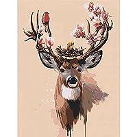 5dダイヤモンド絵画フルラウンド「エルクツリー冬」ラインストーンDIYダイヤモンド刺繡の家の装飾の写真