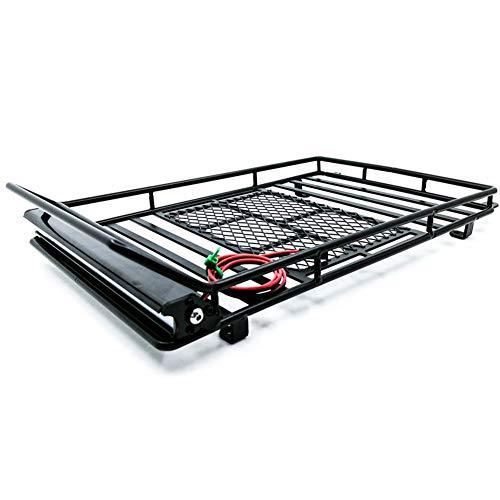 Baca de techo de coche RC para 1/10 RC Crawler de metal RC Baca de metal con foco LED de gran tamaño para Cherokee para Wrangler (con luz)
