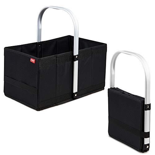 achilles Handle-Box Einkaufs-Korb mit Aluminium Griff Faltbarer Shopper Falt-Tasche Picknick-Korb Klapp-Box Trage-Korb Schwarz 40 cm x 24 cm x 20 cm