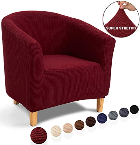 LINGKY Housse de Fauteuil Chesterfield,Jacquard Housse de Canapé Tub Chair Extensible Extensible (Dark Wine)
