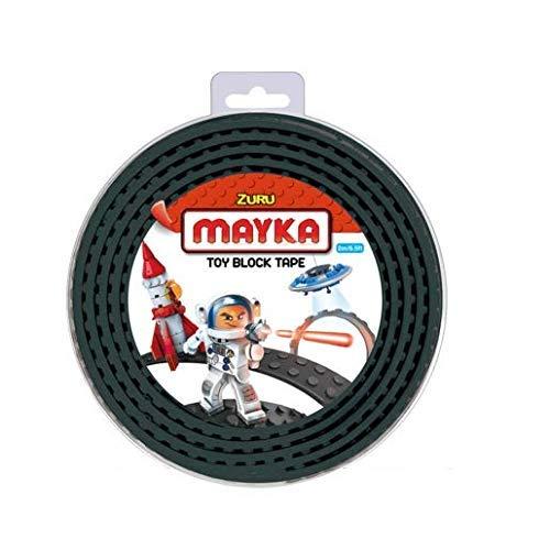Mayka Tape Zuru Spielbaustein-Klebeband selbstklebend – 4 Pins – Schwarz – 2 Meter