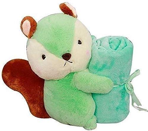 LIULAOHAN Peluche décoration de poupée, Mignon Petit écureuil Peluche poupée Jouet Distribution climatisation Couverture 35 cm (Couleur   vert)