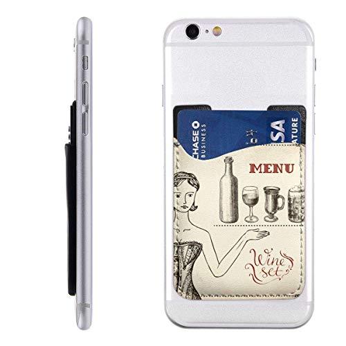 Gustave Tomlinson Mädchen und Wein Hand Zeichnung Handyhalter Rucksack Brieftasche, PU-Kleber Aufkleber ID Kreditkarte Brieftasche Handyhülle Tasche