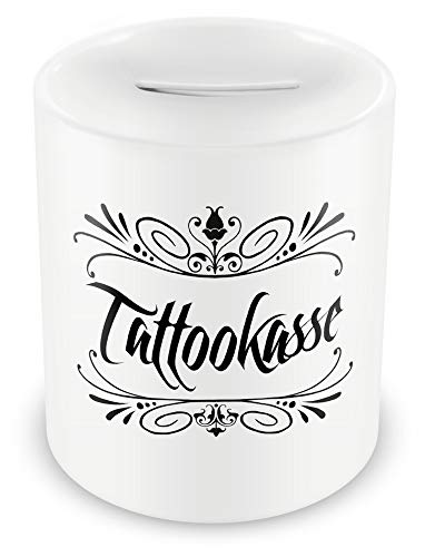 Samunshi® Sparschwein Tattoo Spardose Schwarz Weiß - Tattookasse mit Schnörkel - als Gutschein Tattoo Geschenkideen Spardose Tattoo Money Witzig