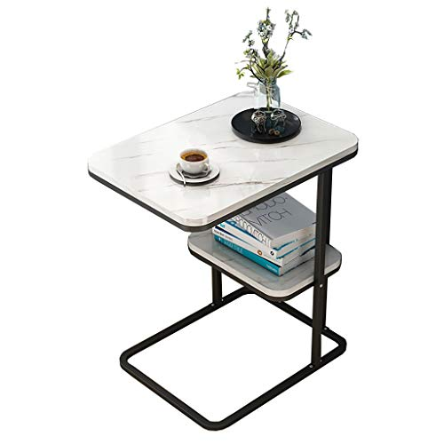 ZWJLIZI Sofa Beistelltisch, Schmiedeeisen L-förmige Doppelbett Beistelltisch/Nachmittag Teetischchen, Marmor Tischplatte (50x30x58cm) (Color : A)