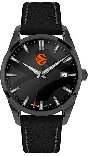 JACQUES LEMANS Herren Armbanduhr massiv Edelstahl Uhr, schwarz, 44