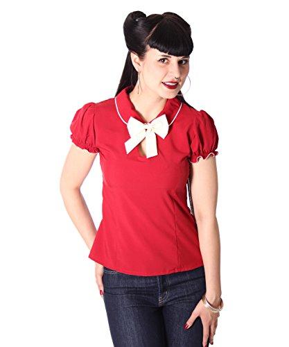 SugarShock Clairy Bubikragen Schlüsselloch Bluse, Größe:M, Farbe:Burgund