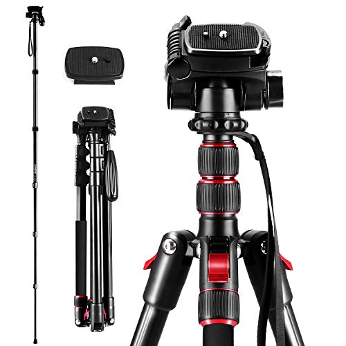 Andoer 2-in-1 Photography Tripod Monopod Stand Aluminium Alloy 360° Rotatable Ball Head 200cm Max. Height 5kg Load Capacity with Carry Bag for DSLR Cameras Camcorders