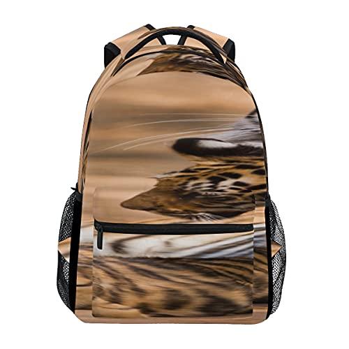 Tigre del Bengala nella foresta Mostra borse da scuola per la testa e le gambe Classico per il tempo libero Donna Uomo Zaino per escursionismo per viaggi scolastici Lavoro oversize 16 pollici persona