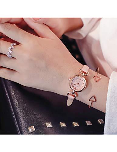 MARRY Damenuhr Damenmode Uhr Kleine Braune Vintage Leder Armband Uhren Frauen Armbanduhren Damenuhr, Pink