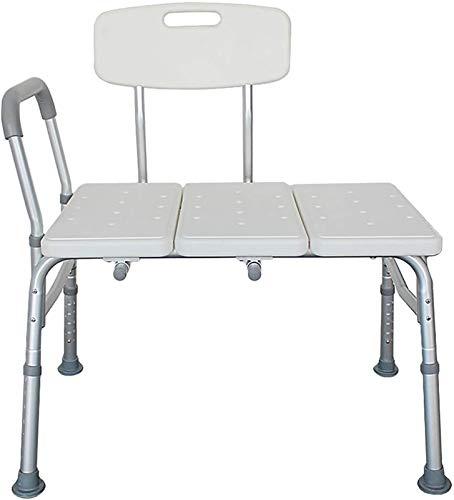 Asiento de la ducha Banco de transferencia de bañera, blanco con respaldo 10 niveles Ajuste de altura Estable Ajuste impermeable Non-deslizamiento Taburete de baño de seguridad adecuado para personas 🔥